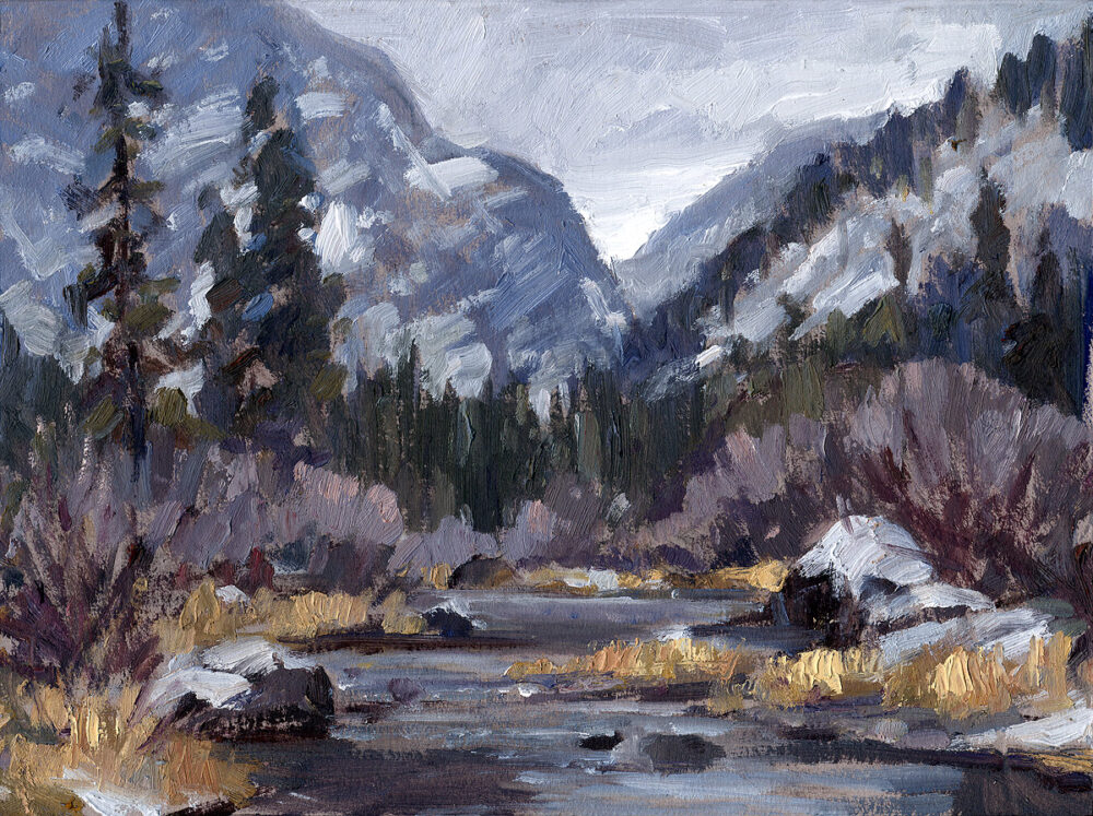Thompson River, Montana, Jared Shear, winter, river, snow, oil painting, landscape