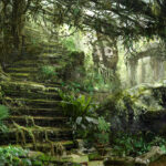 temple ruins, jared shear, artwork, science fiction, digital, painting, jungle,