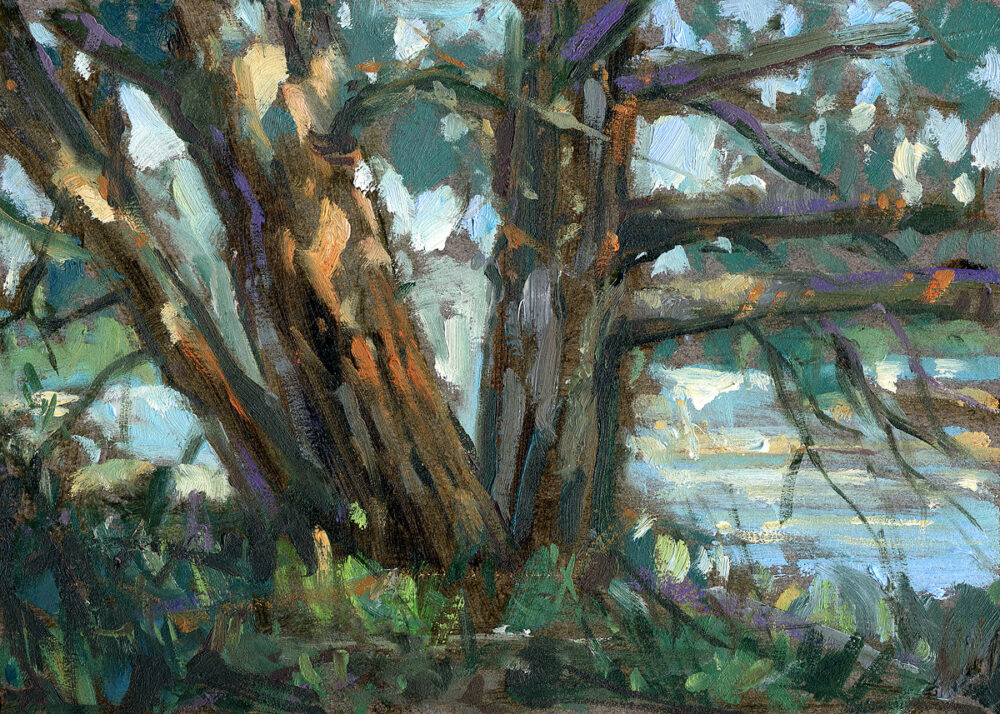 tree, Jared Shear, art, oil painting, landscape, Montana