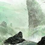 waterfall, art, digital, Jared Shear, science fiction,