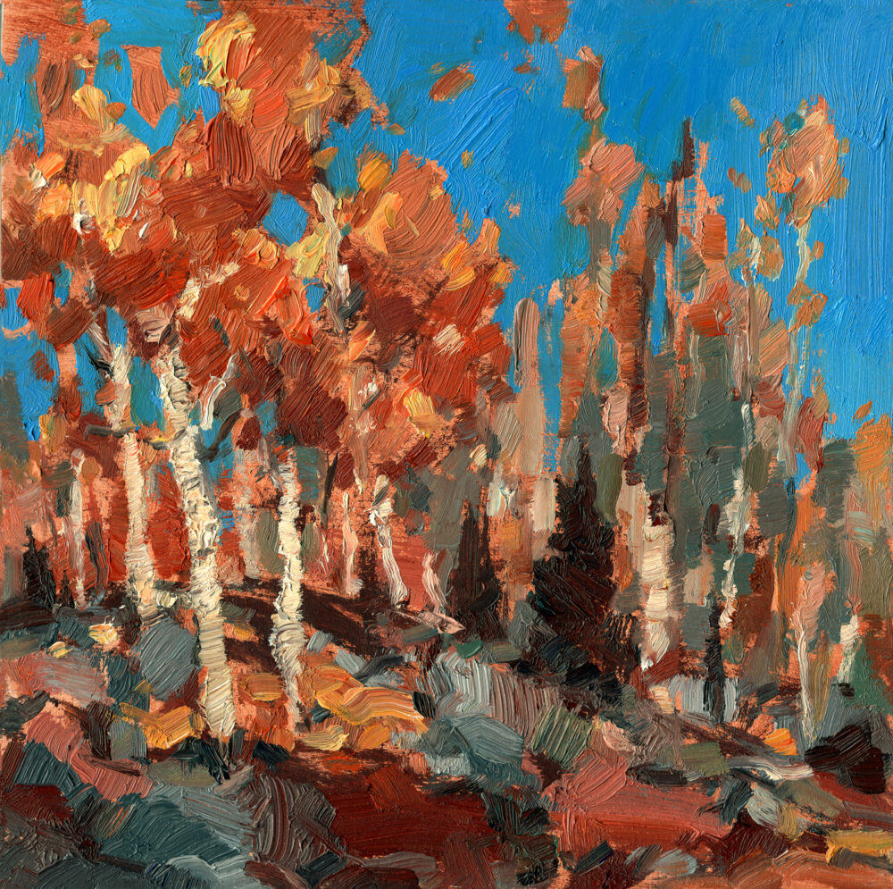 Jared Shear, art, landscape, autumn, fall, trees, oil paint, painting, rocks,