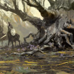 jared shear, fantasy art, forest, tree, centaurs, digital art, branches, art, painting,