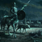 centaur, Jared Shear, art, painting, fantasy, night, nocturne, wolf, bones, digital art,