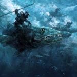 jared shear, art, painting, illustration, digital, digital illustration, underwater, sea, ocean, diver attack,