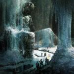Jared Shear, robot, ice, digital art, scifi, snow, illustration, painting,
