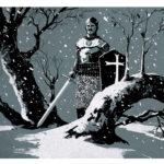 jared shear, art, painting, knight, winter, snow, tree, digital art, illustration,