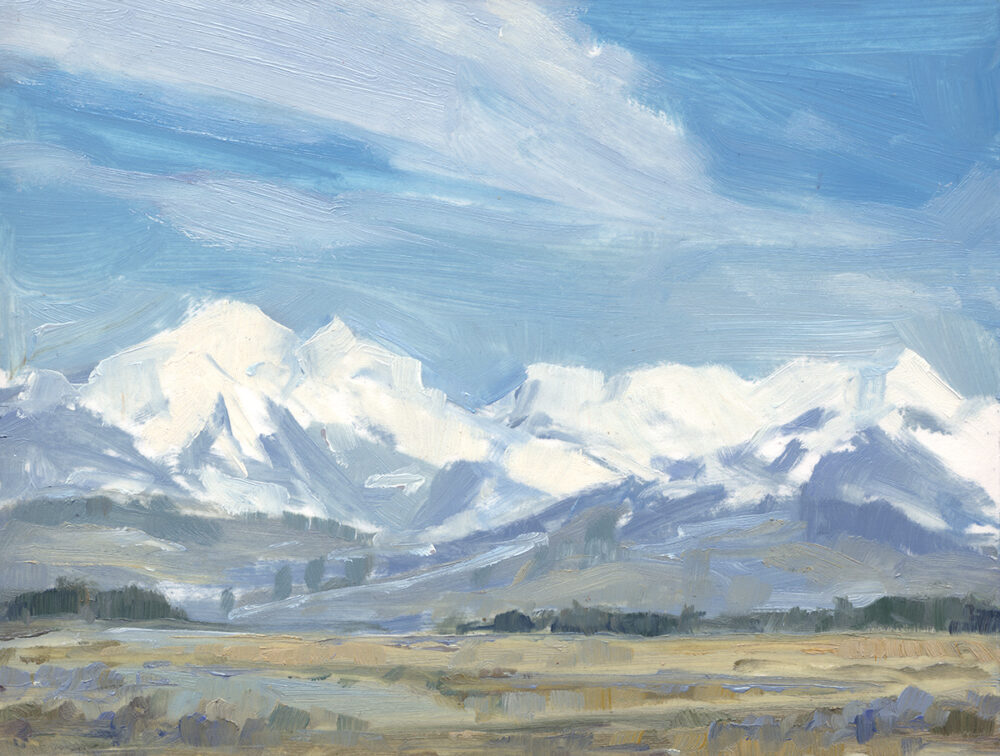 montana, plein air, mountains, mission moutains, snow, landscape, Jared Shear, art, painting,