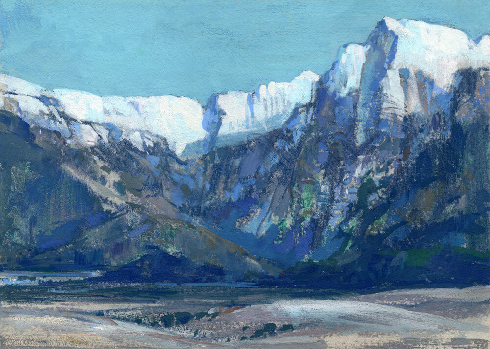 jared shear, art, mountains, montana, missions, landscape, gouache, art, painting