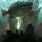 Jared Shear, art, illustration, scifi, fish, diver, underwater, creature,