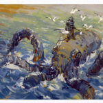 jared shear, octopus, diver, seagull, art, painting, fantasy,