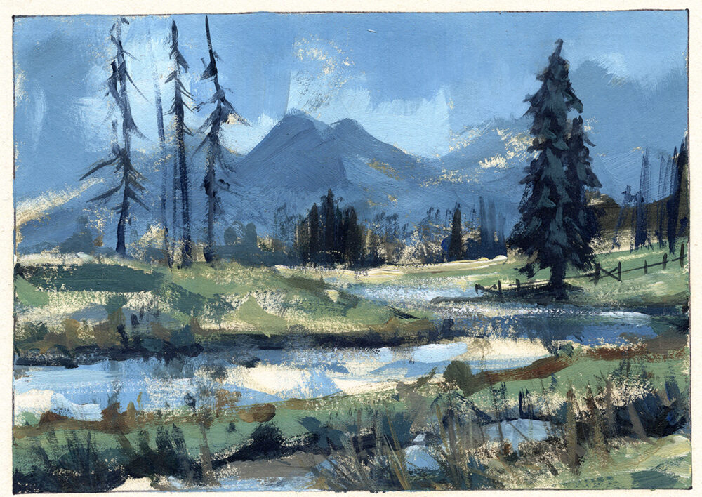 jared shear, art, landscape, painting, montana, trees, stream, creek, mountains, oil painting, plein air,