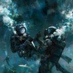 jared shear, art, illustration, book cover, underwater, divers, adventure, sharks, sunken ship,