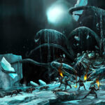 Jared Shear, monster, science fiction, Antarctica, ice, creature, digital, painting