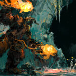 Fire, Ice, snow, Fantasy, Antarctica, Jared Shear, painting, digital art,