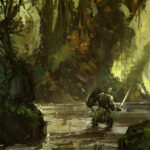 swamp, Jared Shear, digital art, painting, jungle, knight, fantasy,