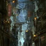 kowloon, city, Jared Shear, alley, art, digital,
