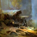Jared Shear, art, painting, digital art, science fiction, base,