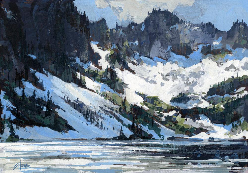 Little Spar Lake, Montana, art, painting, oil on board, Jared Shear, snow, water, mountains, landscape