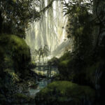 Jared Shear, art, jungle, digital, illustration, painting, science fiction,