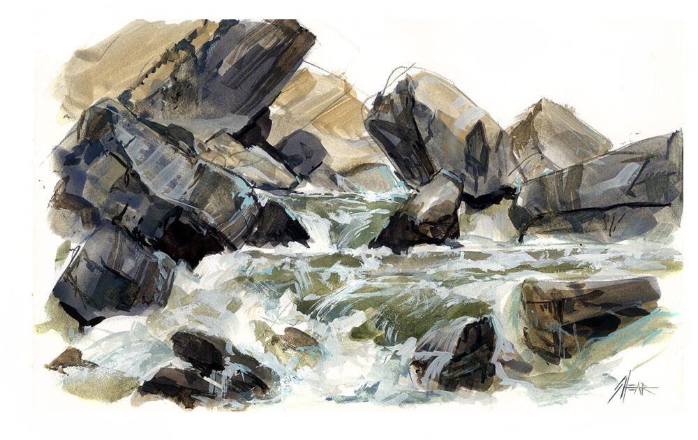 Jared Shear, art, painting, watercolor, gouache, rocks, water, Montana, plein air, river,