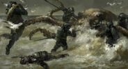 Jared Shear, divers, octopus, fantasy art, waves, ocean, marine art, sea, battle,digital art, scifi, illustration, painting,