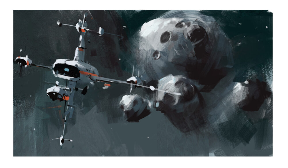 jared shear, space, spaceship, science fiction, asteroid, art, painting,