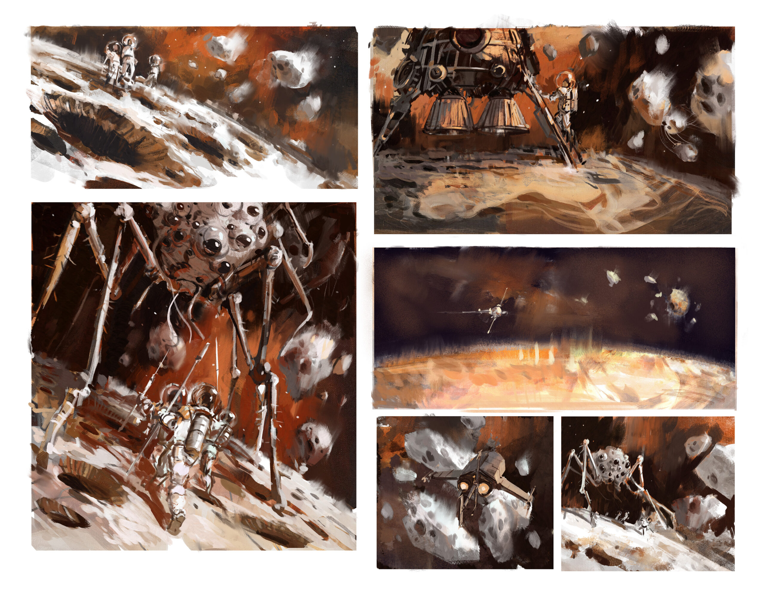 Jared Shear, spiders, space, scifi, asteroids, sketches, thumbnail, science fiction, creature, spideroid, attack, art,