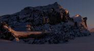 jared shear, snow, rocks, 3D, winter, sunrise, blender, art,